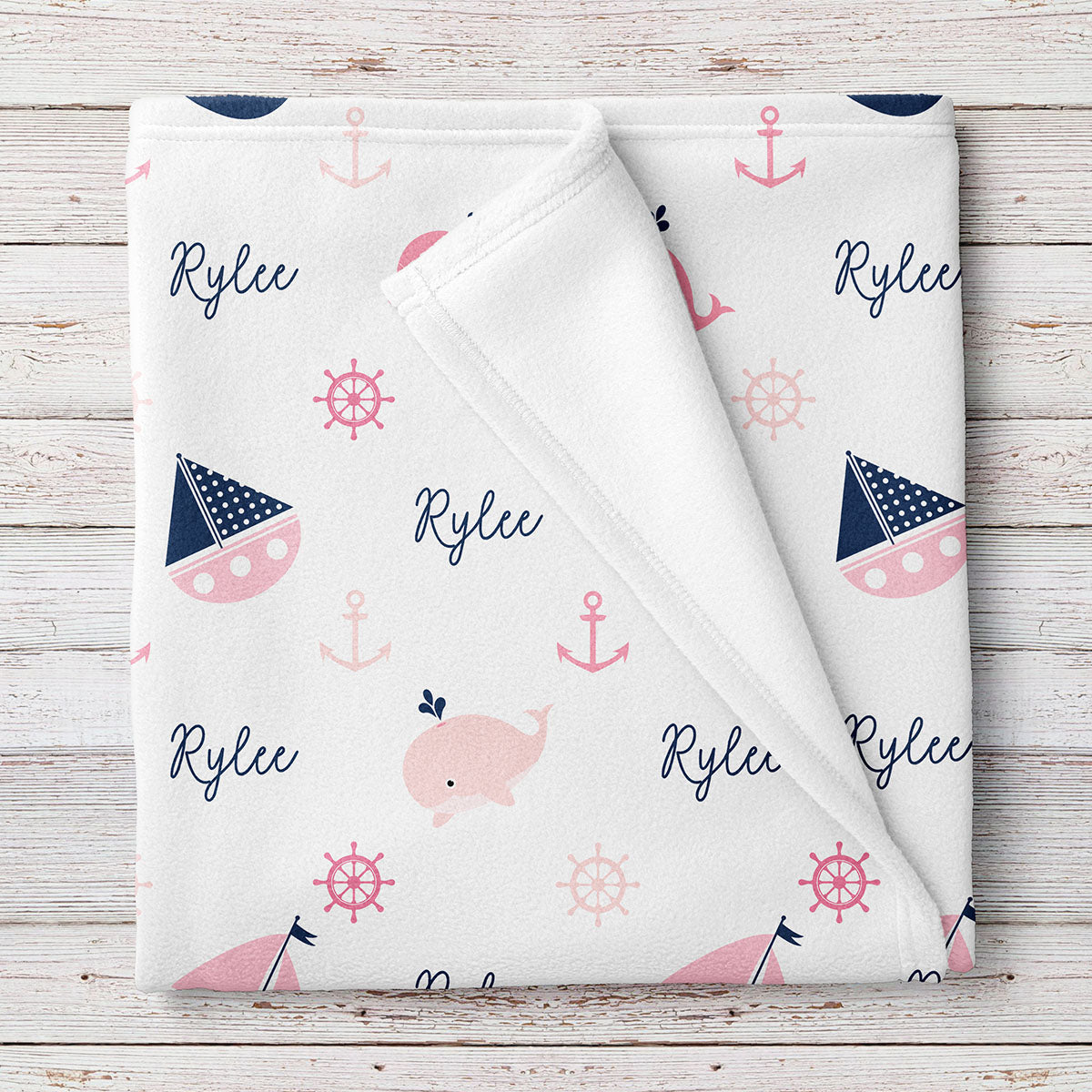 Personalized Nautical Fleece Baby Girl Blanket, Navy and Pink (BB249)
