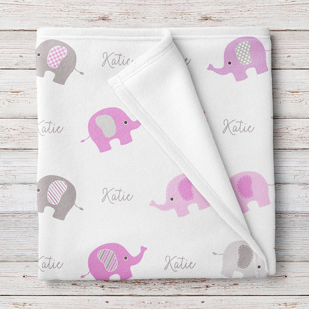 Personalized Elephant Fleece Baby Blanket, Pink and Gray girls print (BB254)