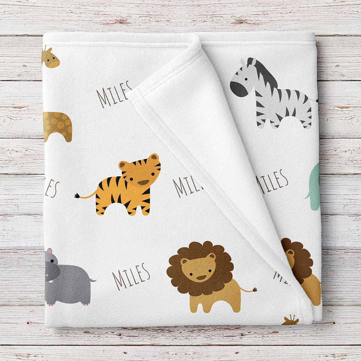 Personalized Fleece Safari Animals Baby Blanket (BB257)