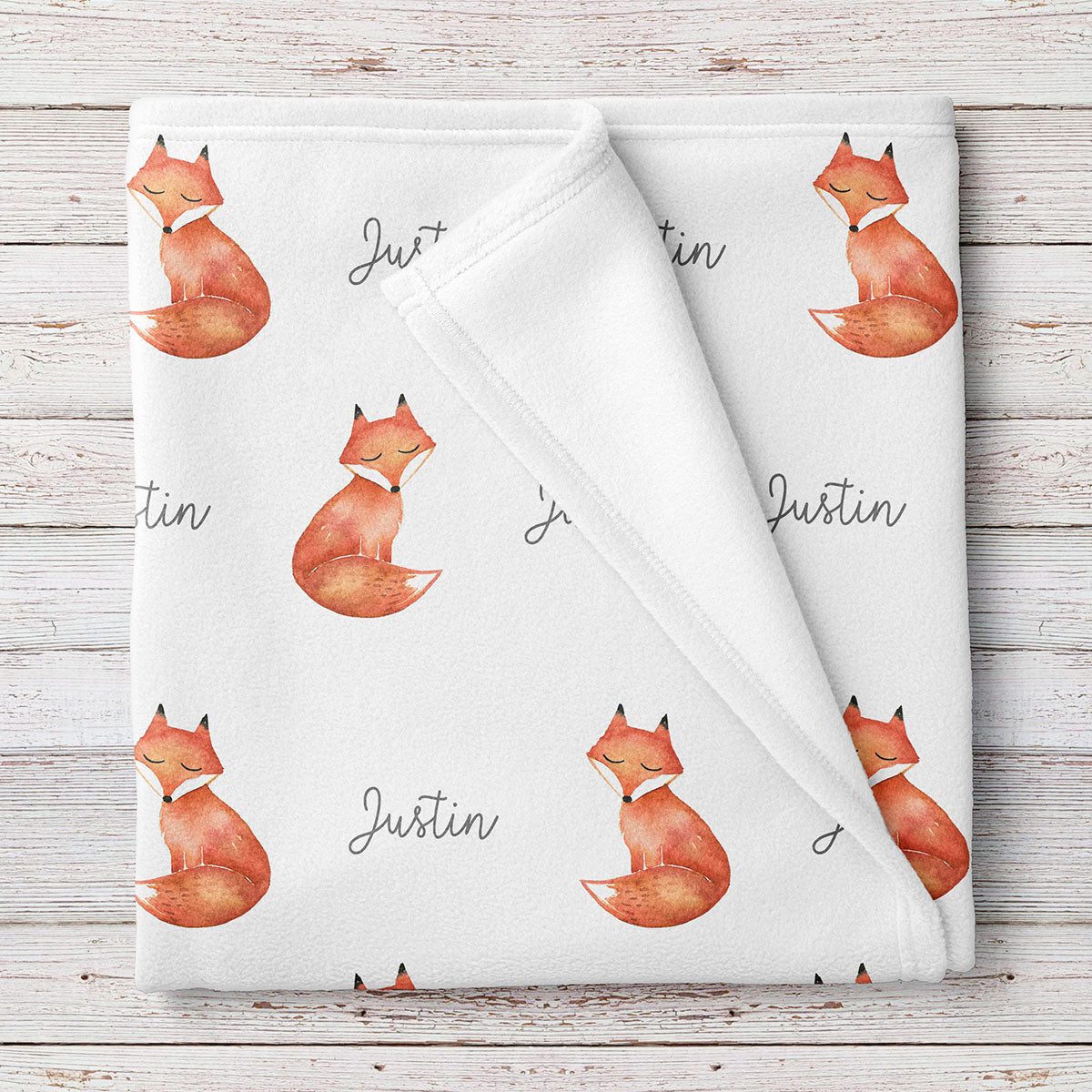 Fox Watercolor Print Personalized Baby Blanket (BB259)