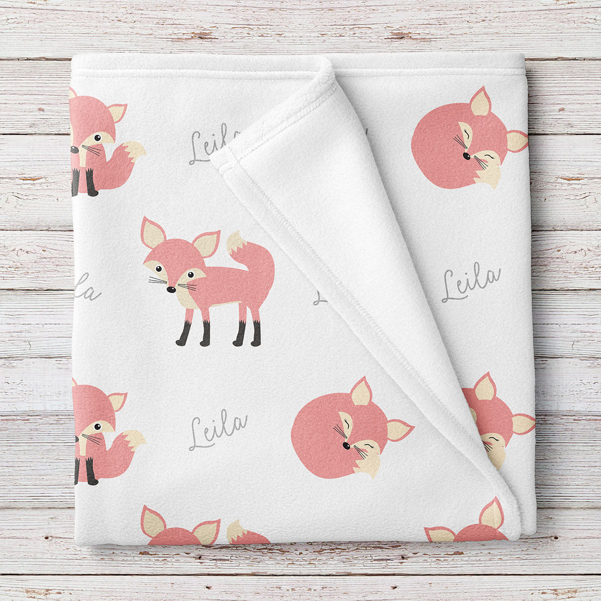 Pink Fox Personalized Fleece Baby Blanket, Baby Girl (BB261)