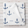 Personalized Anchor Nautical Fleece Baby Blanket (BB262)