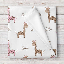 Giraffe Fleece Personalized Baby Girl Blanket, Pink and Brown (BB264)