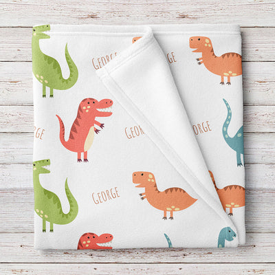 Dinosaur Personalized Fleece Baby Boy Name Blanket (BB265)