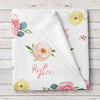 Personalized Rose and Peony Floral Baby Girl Name Blanket (BB271)