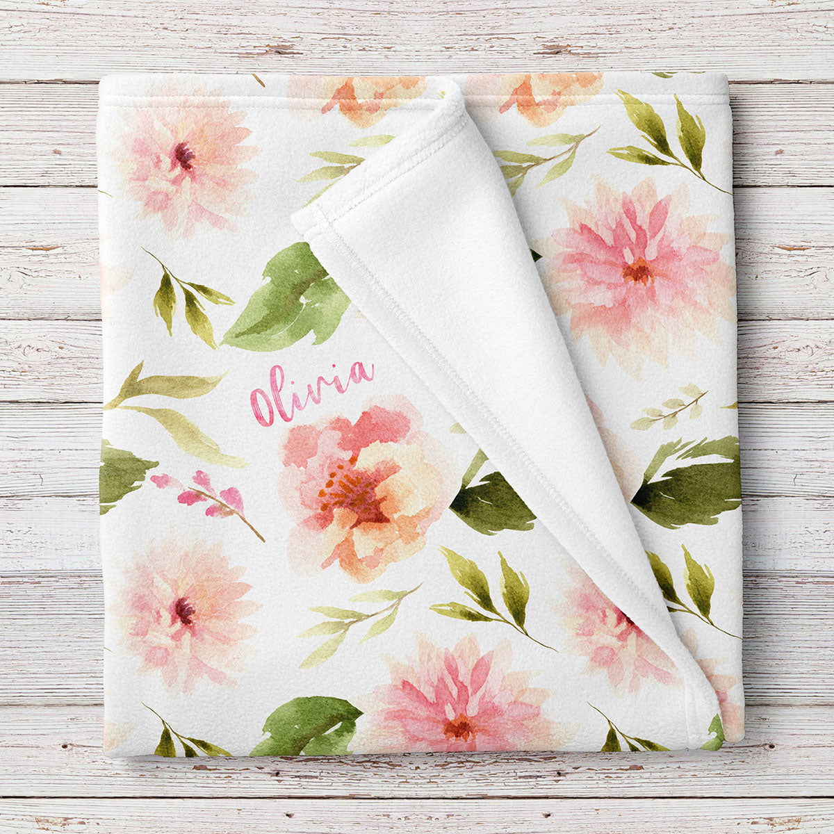 Personalized Baby Girl Name Blanket, Floral Pink Dahlia and Rose Print (BB272)