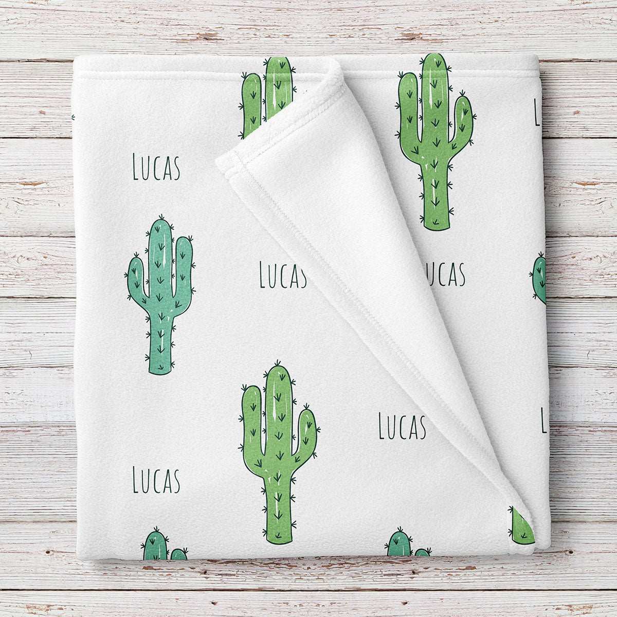 Personalized Cactus Baby Blanket, Green cactus print (BB273)