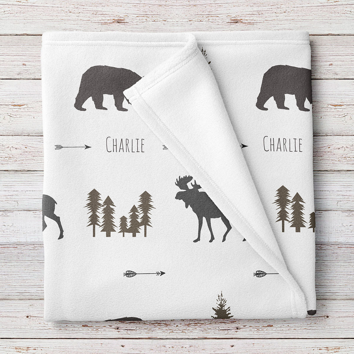 Personalized Woodland Animal Moose and Bear Baby Name Blanket (BB275)