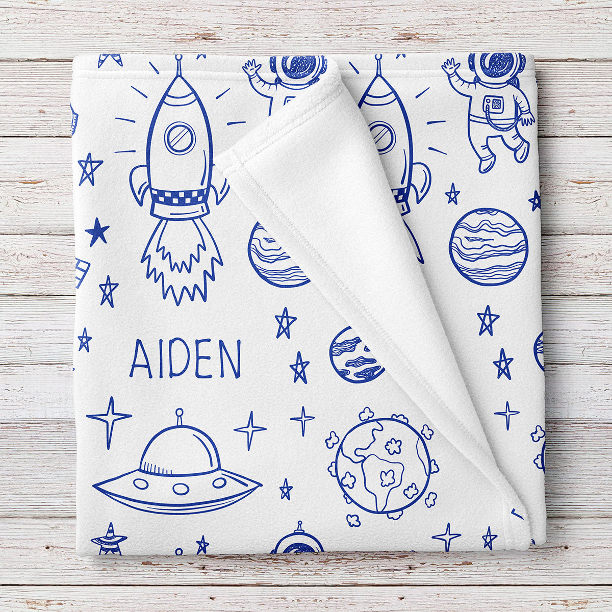 Outer Space Fleece Personalized Baby Blanket (BB278)
