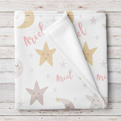 Personalized Stars and Moon Fleece Baby Girl Blanket (BB284)