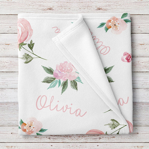 Personalized Baby Girl Name Blanket, Light coral and pink floral  (BB298)