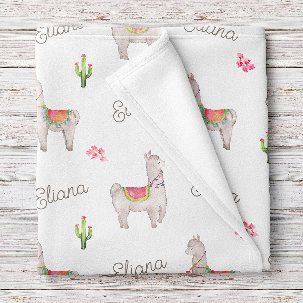 Llama Personalized Fleece Baby Girl Blanket (BB301)