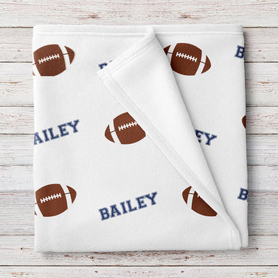 Football baby boy blanket, Blue and brown (BB304)