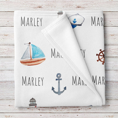 Nautical Personalized Baby Blanket (BB315)