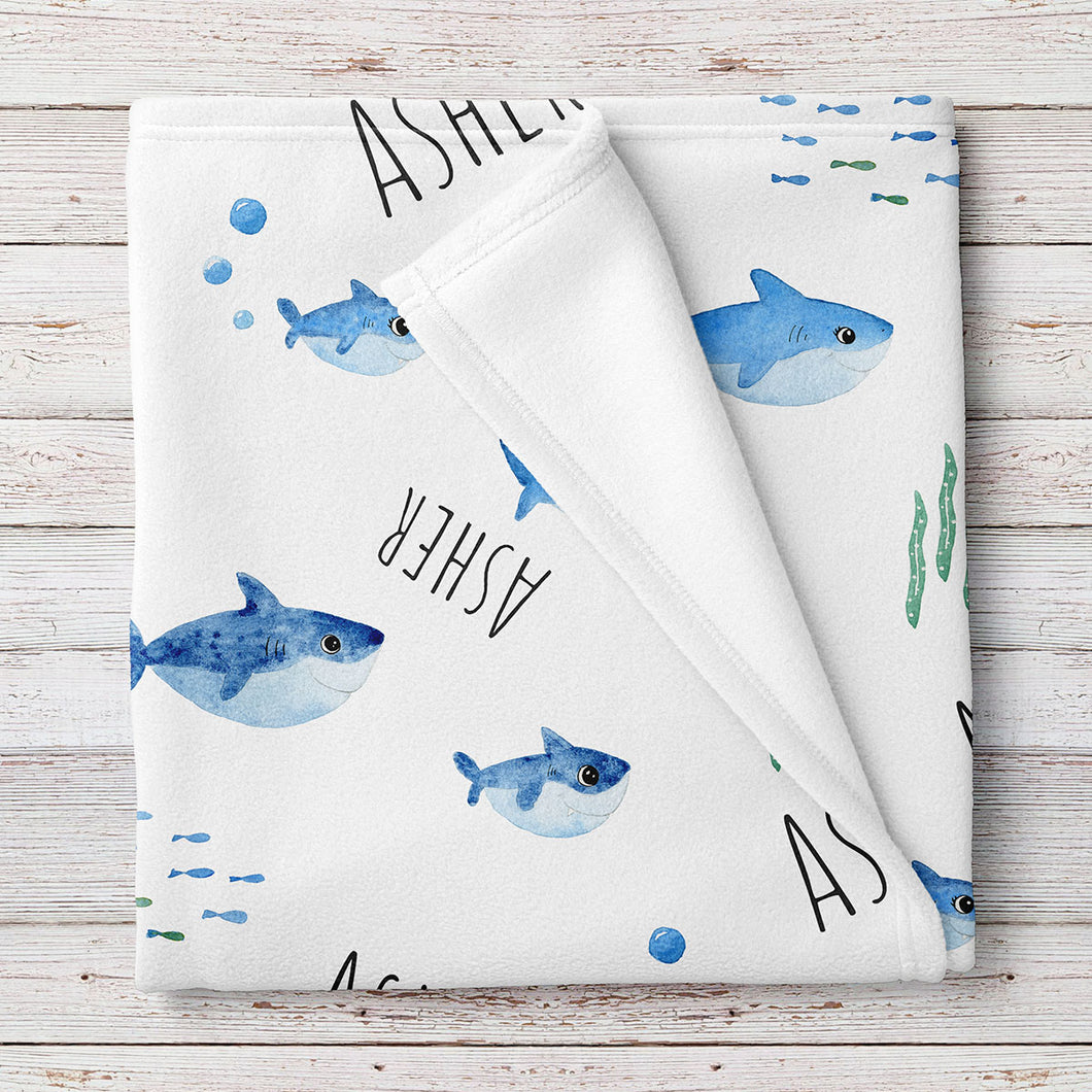Baby Sharks Personalized Baby Blanket (BB319)