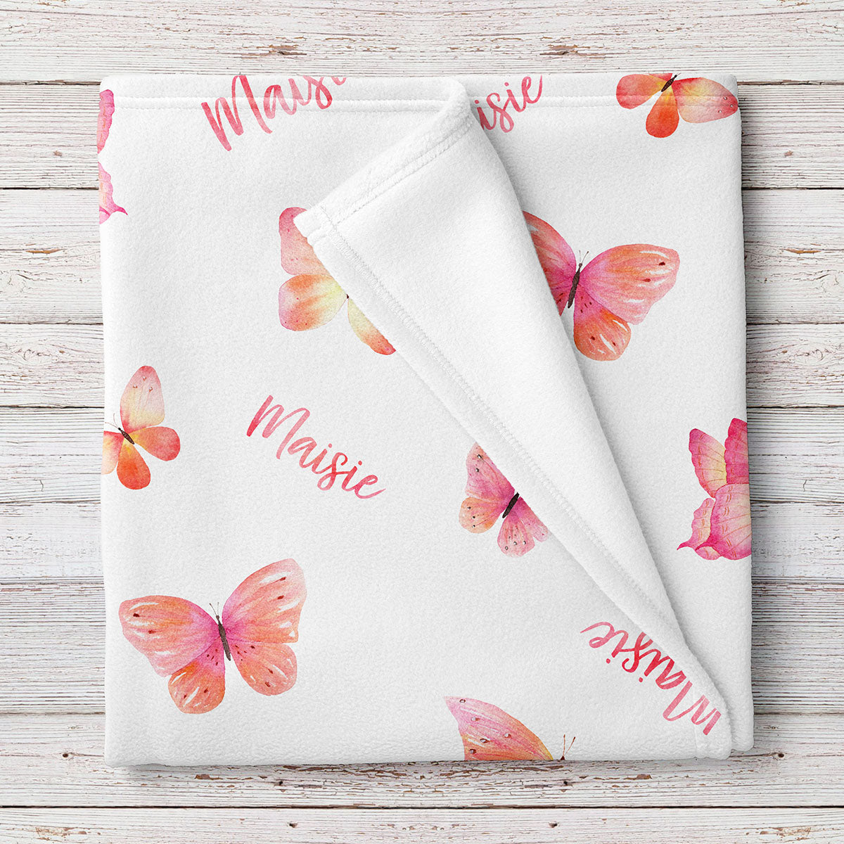 Butterflies Personalized Baby Blanket Coral (BB321)