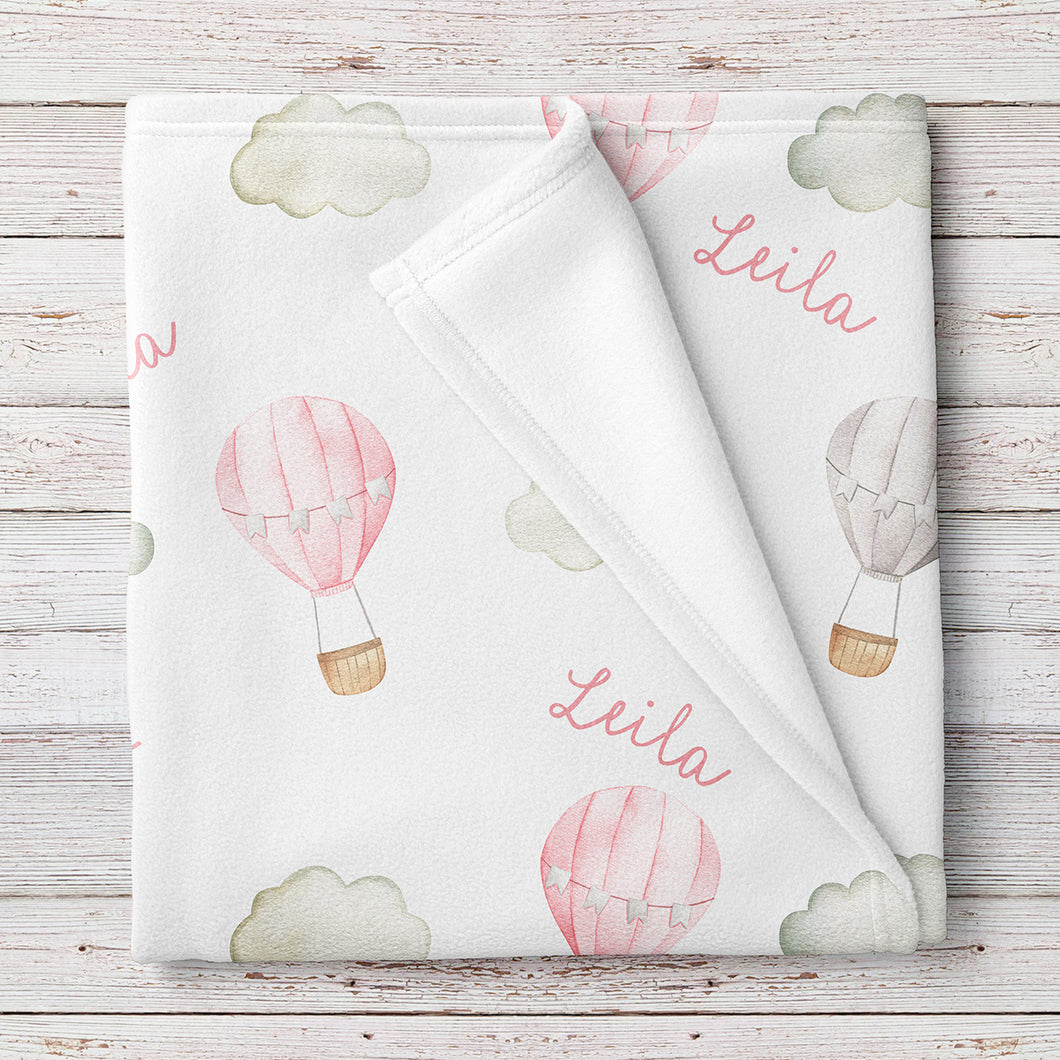 Hot Air Balloons Personalized Baby Blanket, Pink (BB326)