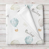 Hot Air Balloons Personalized Baby Blanket, Blue (BB327)