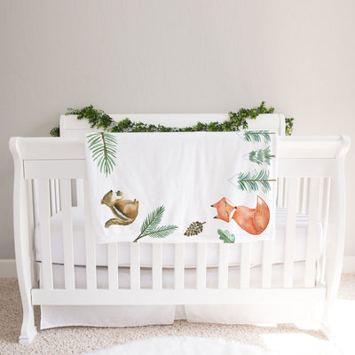 Monthly milestone baby blanket personalized, Woodland animals (BB121)