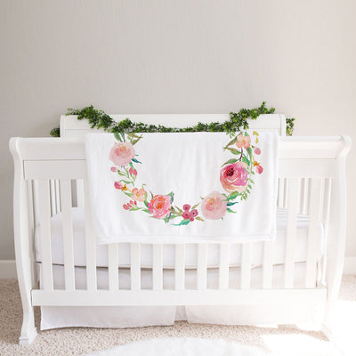 Monthly milestone baby blanket personalized, Floral coral print (BB123)
