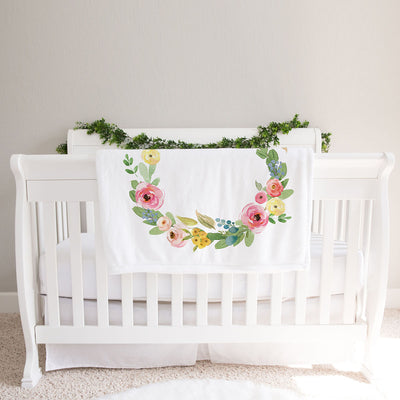 Monthly milestone baby blanket personalized, Floral Rose and Peony (BB126)