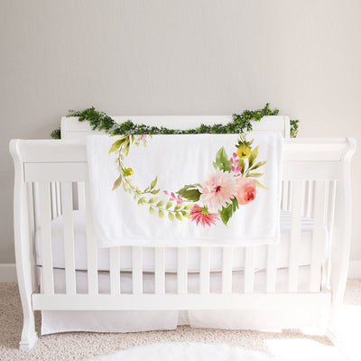 Monthly milestone baby blanket personalized, Floral Pink Dahlia and Rose (BB127)