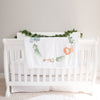 Monthly milestone baby blanket personalized, Safari animals wreath (BB128)