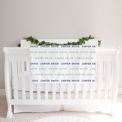 Personalized Baby Boy Name Blanket, Navy blue, green and gray BB296