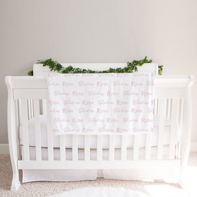 Personalized Baby Girl Name Blanket, Light Pink