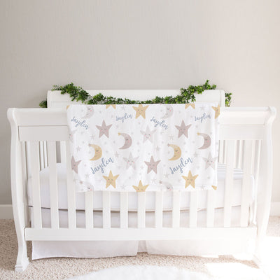 Personalized Stars and Moon Fleece Baby Boy Blanket (BB302)