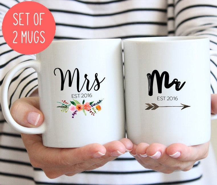 Mr and Mrs Couples mugs 2018 or 2019, Wedding gift, His and hers mugs (M381 M408 2D)