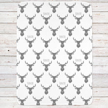 Personalized Deer Head Baby Blanket Gray and White (BB282)
