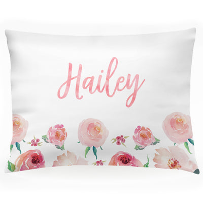"Personalized Floral Girls Pillow Case, Coral Watercolor 30"" x 20"" (P106)"
