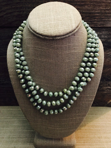 "60"" Crystal Necklace- Sage"