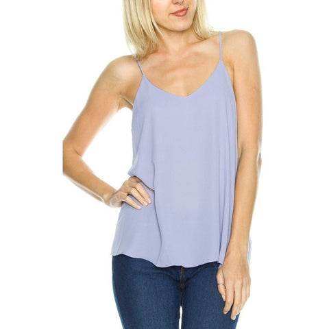 Spaghetti Strap Racer Back Top- Ice Purple