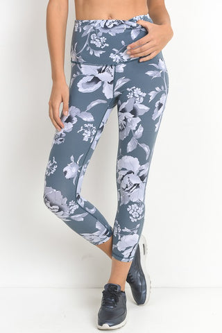 Blue Floral Athleisure Leggings
