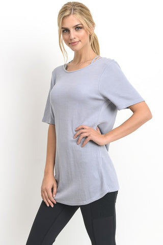 Crisscross Athleisure Top- Light Blue
