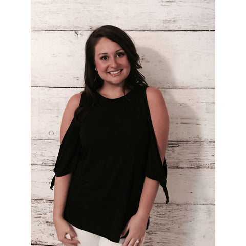 Tie Sleeve Cold Shoulder Top- Black