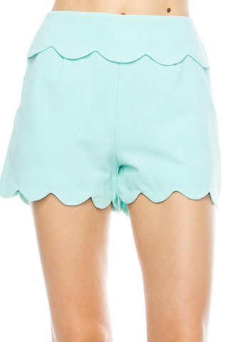 Solid Scalloped Hem Shorts- Mint