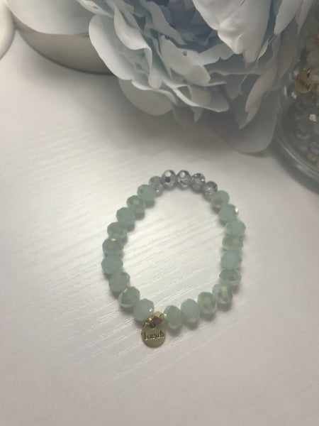 Erimish Mint Jar Bracelet- Mint and Clear Blue