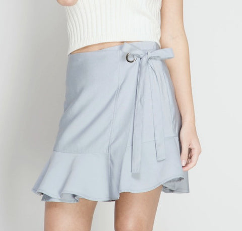 Wrap Around Tie Skirt- Ice Blue
