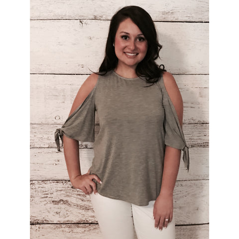 Tie Sleeve Cold Shoulder Top- Heather Gray