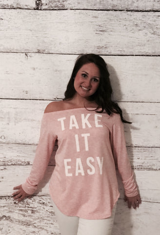 """Take It Easy"" Off Shoulder Top"