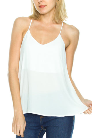 Spaghetti Strap Racer Back Top- White