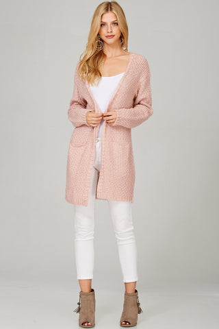 Knit Cardigan Wrap- Blush