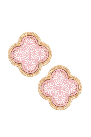 Clover Cut Out Earring Studs- Pink and Gold