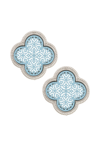 Clover Cut Out Earring Studs- Blue and Silver
