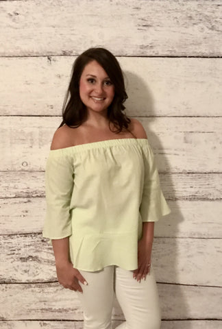 Bow Back and Seersucker Off Shoulder Top- Lime