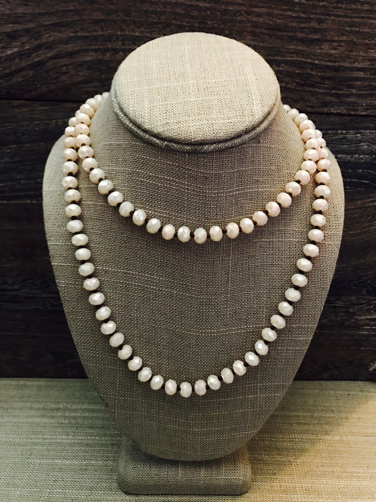 "36"" Hand Knotted Crystal Necklace- Cream"