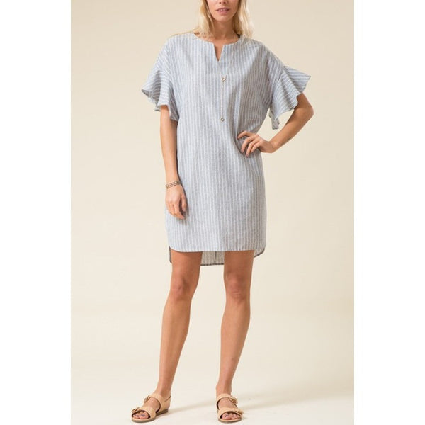 Bell Sleeve Striped Midi Dress- Denim